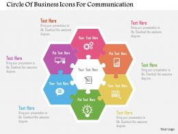 Circle Of Business Icons For Communication Flat Powerpoint Design