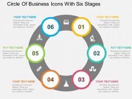 Circle Of Business Icons With Six Stages Flat Powerpoint Design