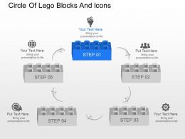 Circle Of Lego Blocks And Icons Powerpoint Template Slide