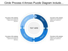Circle Process 4 Arrows Puzzle Diagram Include Distinctive Kind Of Space For Each Category