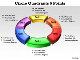 circle quadrants 6 points editable powerpoint Slides templates