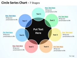 circle series chart with big black circle in center and surrounding 7 stages powerpoint templates 0712