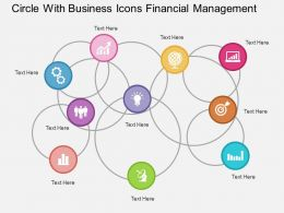 Circle With Business Icons Financial Management Flat Powerpoint Design
