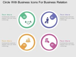 Circle With Business Icons For Business Relation Flat Powerpoint Design