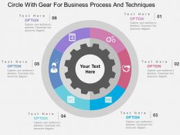 Circle With Gear For Business Process And Techniques Flat Powerpoint Design