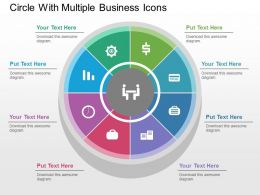 Circle With Multiple Business Icons Flat Powerpoint Design