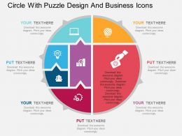 Circle With Puzzle Design And Business Icons Flat Powerpoint Design