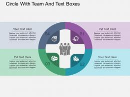 Circle With Team And Text Boxes Flat Powerpoint Design