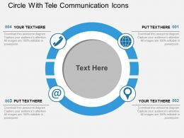 Circle With Tele Communication Icons Flat Powerpoint Design