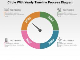 Circle With Yearly Timeline Process Diagram Flat Powerpoint Design