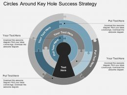 Circles Around Key Hole Success Strategy Flat Powerpoint Design