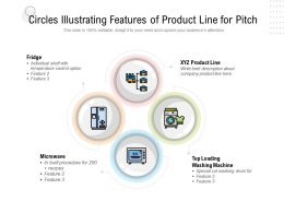 Circles Illustrating Features Of Product Line For Pitch
