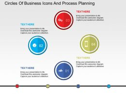 Circles Of Business Icons And Process Planning Flat Powerpoint Design
