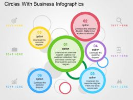 Circles With Business Infographics Flat Powerpoint Design