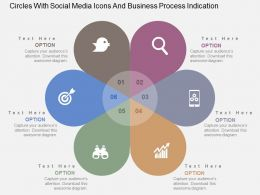 Circles With Social Media Icons And Business Process Indication Flat Powerpoint Design