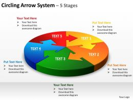 circling arrow system 5 stages powerpoint diagrams presentation slides graphics 0912
