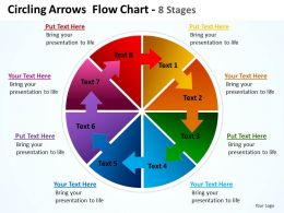 circling arrows intertwined flow chart showing process 8 stages powerpoint templates 0712