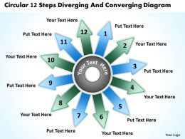 circular 12 steps diverging and converging diagram Flow Layout Process PowerPoint Slides