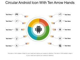 Circular Android Icon With Ten Arrow Hands
