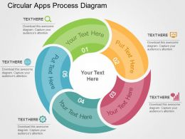 Circular Apps Process Diagram Flat Powerpoint Design