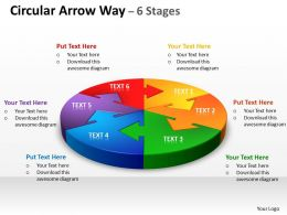 Circular Arrow diagram Way 6 Stages 8