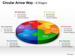 Circular Arrow diagram Way 6 Stages 8
