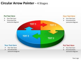 circular arrow pointer 4 stages powerpoint diagrams presentation slides graphics 0912