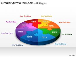 circular arrow symbols 8 stages powerpoint diagrams presentation slides graphics 0912