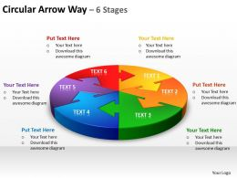 circular arrow way 6 stages powerpoint diagrams presentation slides graphics 0912