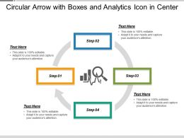 Circular Arrow With Boxes And Analytics Icon In Center