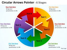 Circular Arrows diagram Pointer 6 Stages 9