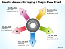 circular arrows diverging 5 stages flow chart Layout Process PowerPoint Slides