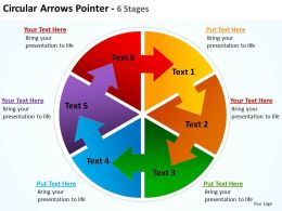circular arrows intertwined flow chart process pointer 6 stages powerpoint templates 0712