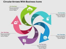 Circular Arrows With Business Icons Flat Powerpoint Design