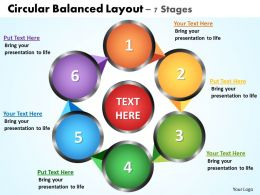 circular balanced layout 7 stages powerpoint diagrams presentation slides graphics 0912