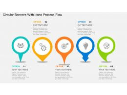 Circular Banners With Icons Process Flow Flat Powerpoint Design