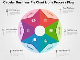 Circular Business Pie Chart Icons Process Flow Flat Powerpoint Design