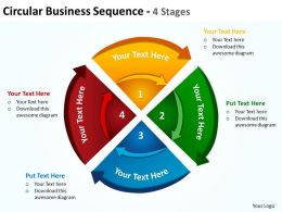 circular business sequence with concentric arrows cut up into 4 stages powerpoint templates 0712