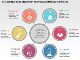 Circular Business Steps With Analysis And Management Icons Flat Powerpoint Design