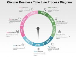 Circular Business Timeline Process Diagram Flat Powerpoint Design