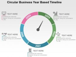 Circular Business Year Based Timeline Flat Powerpoint Design