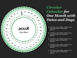 Circular Calendar For One Month With Dates And Days