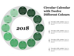 Circular Calendar With Twelve Different Colours