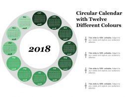 Circular Calendar With Twelve Different Colours