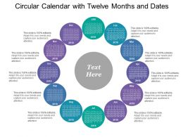 Circular Calendar With Twelve Months And Dates