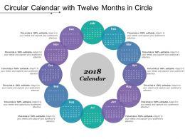 Circular Calendar With Twelve Months In Circle