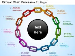 Circular Chain Flowchart Process Diagram 11 Stages ppt Templates 0412