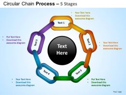 Circular Chain Flowchart Process Diagram 5 Stages ppt Templates 0412