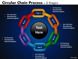 Circular Chain Flowchart Process Diagram 6 Stages 3