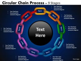 Circular Chain Flowchart Process Diagram 9 Stages 3